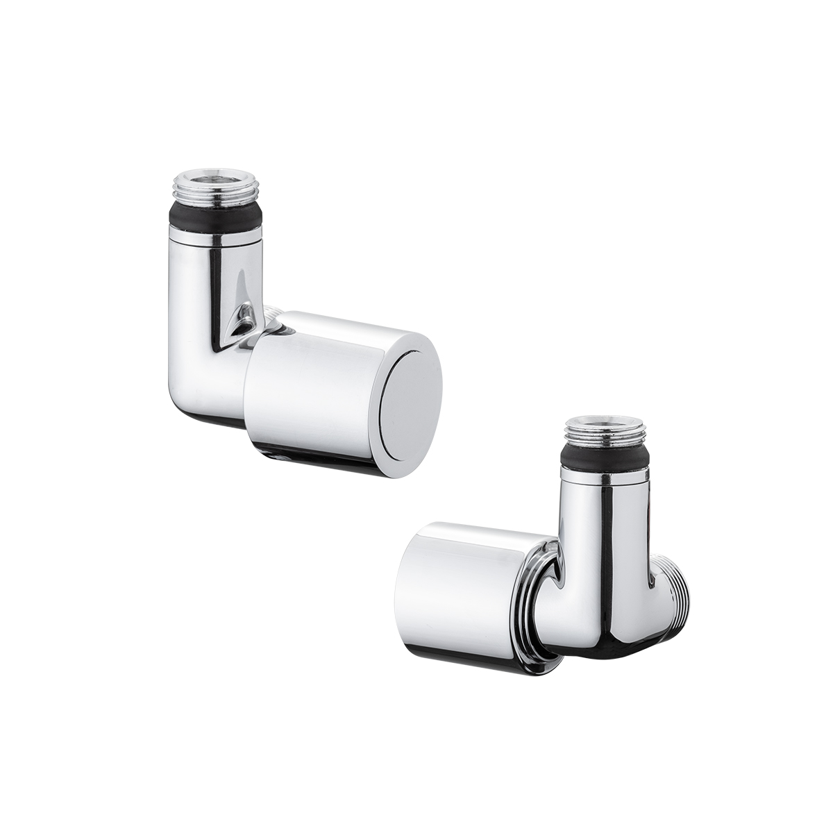 Double angle valve with thermostatic option Chrome finish.