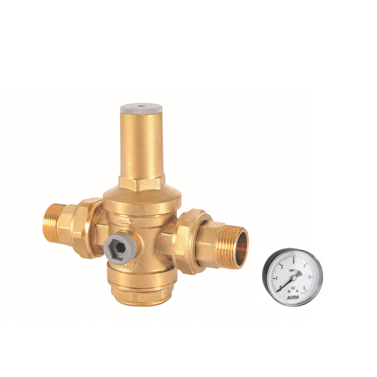 Pressure reducer with male tail connections.