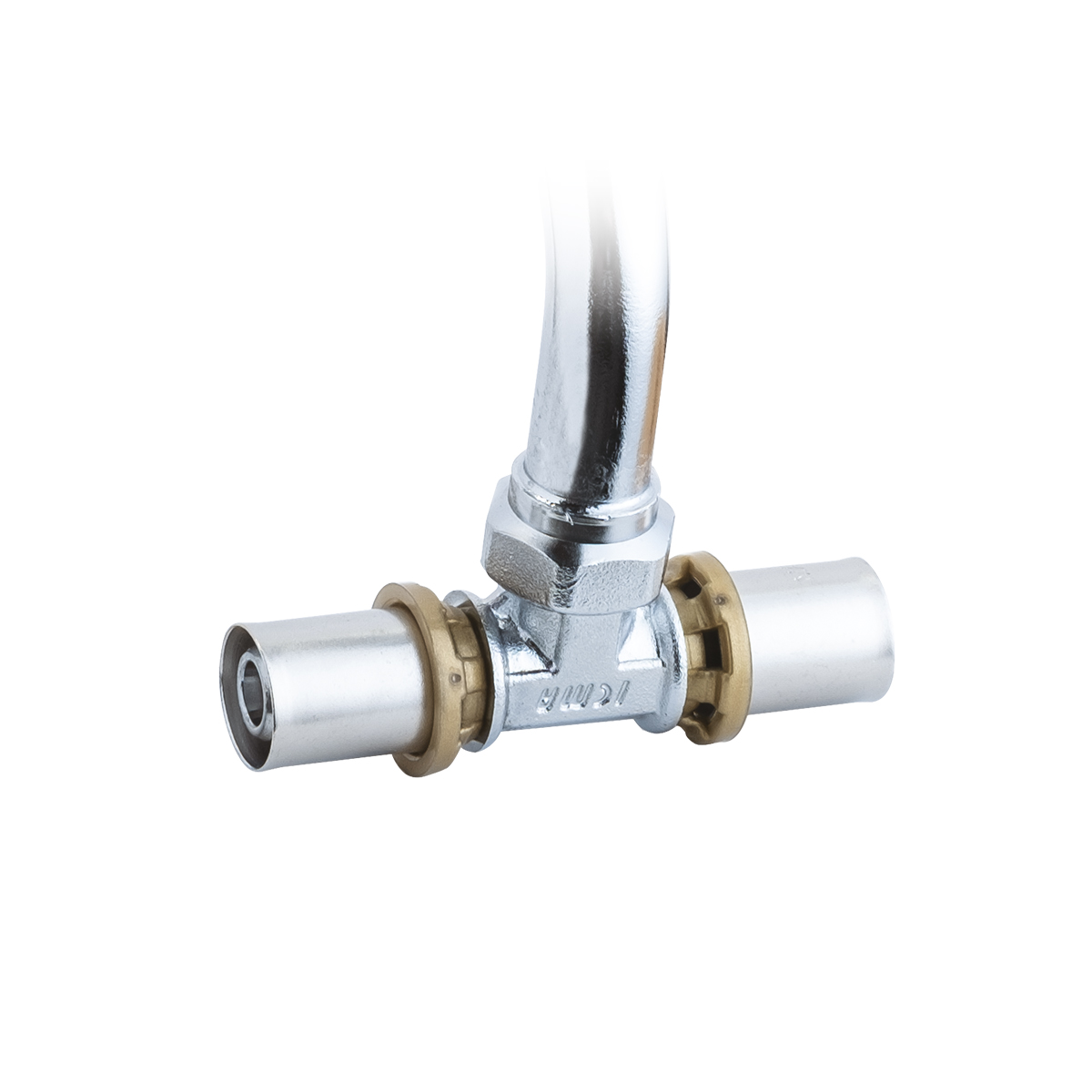SEMPITER chrome-plated TEE fittings for radiator connection.