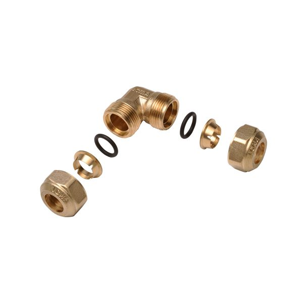 Screw fittings with o-ring seal for copper piping, for water and gas