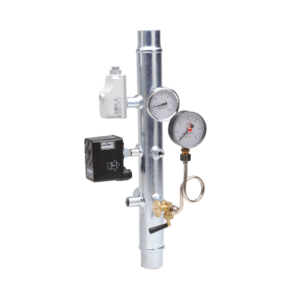 INAIL instrument holding stub for central heating systems
