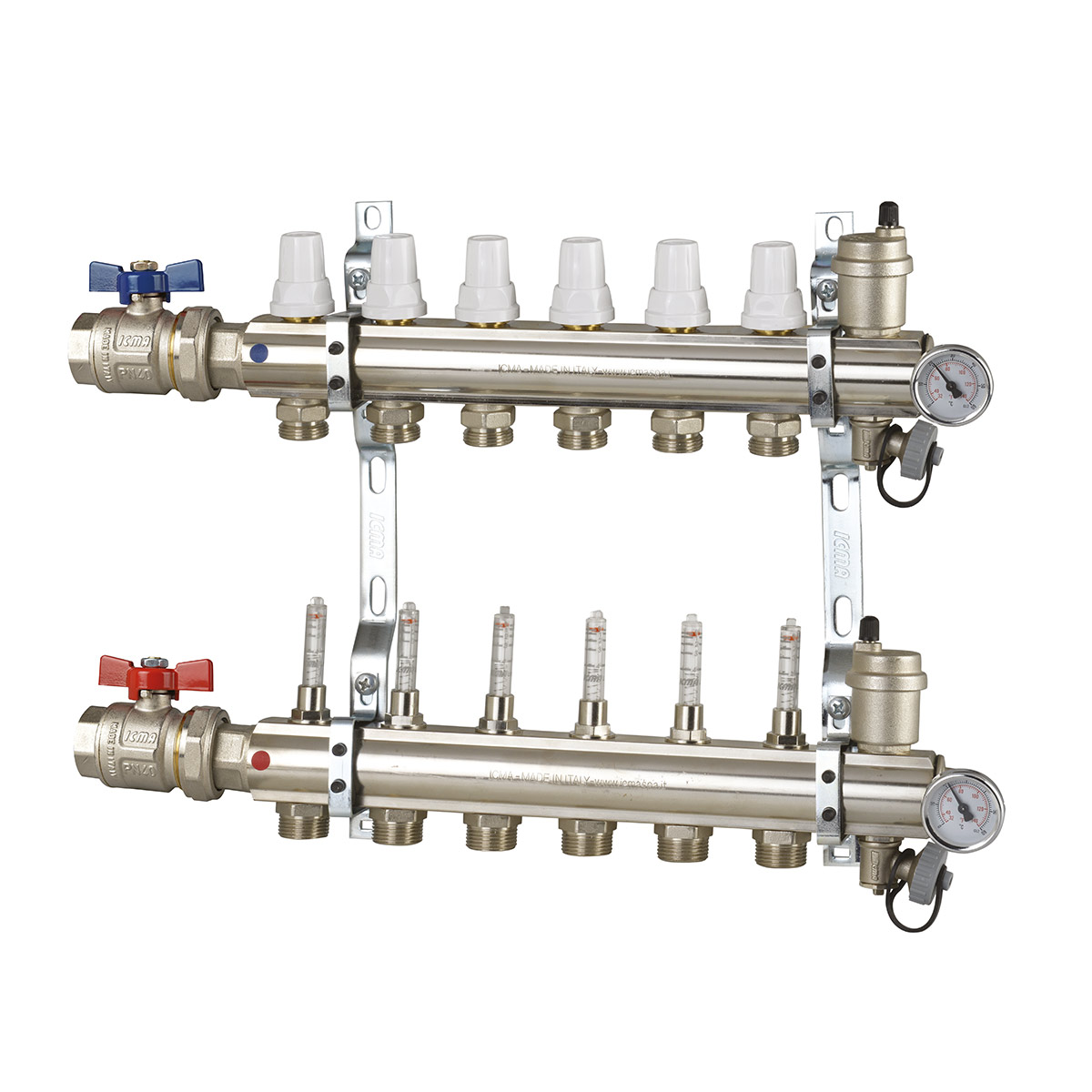 Manifolds unit with memory flowmeters and valves with thermostatic option