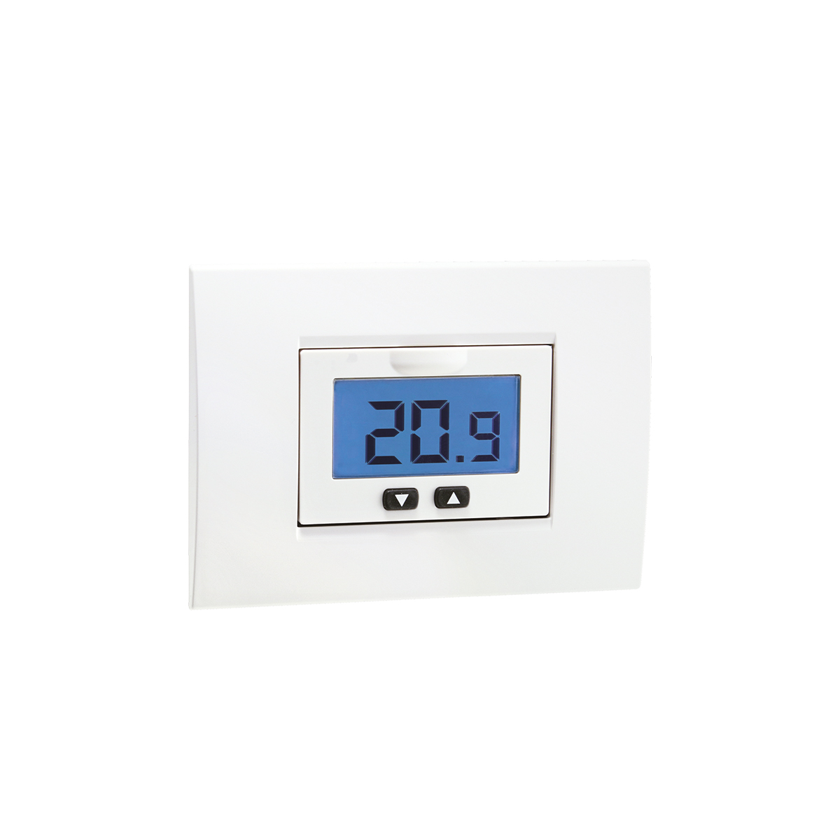 Flush-mounting thermostat with LCD display and battery-supply