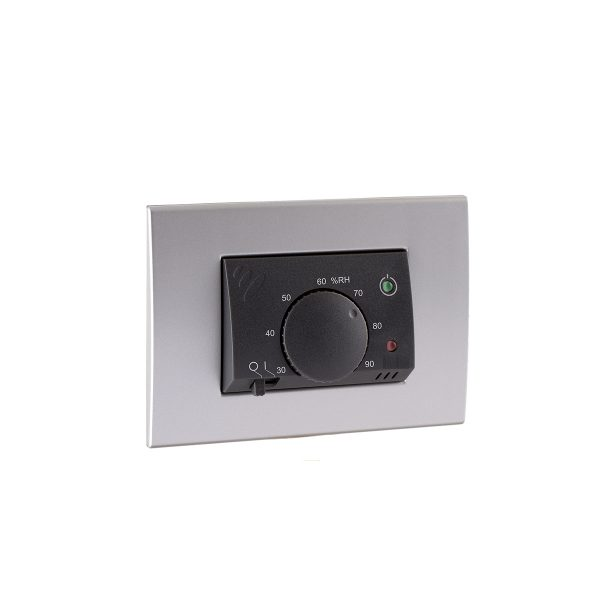 Electronic flush-mounting humidistat with power supply.