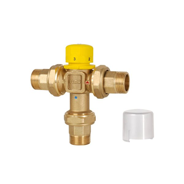 Thermostatic mixer for solar systems. Male threaded tails, max. working pressure 10 bars, max.