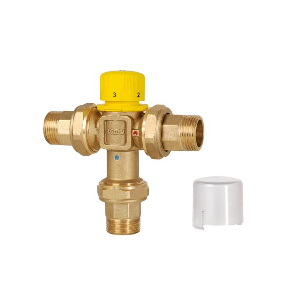 Thermostatic mixer for solar systems. Male threaded tails