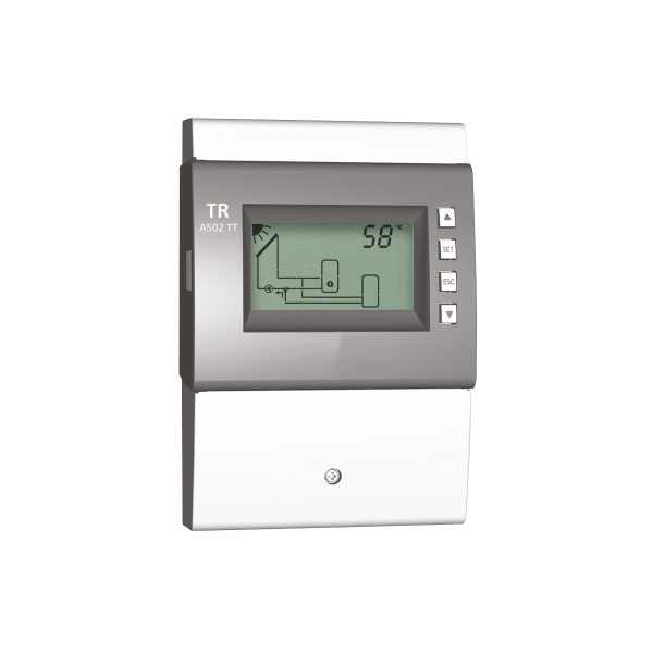 Microprocessor control unit for solar systems with backlit LCD display